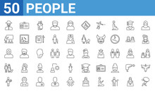 Set Of 50 People Web Icons. Outline Thin Line Icons Such As Burden,zorro,foreign Reporter,man Girl And Dog,old Man,classroom Stats,identification Card With Picture,costa Rica. Vector Illustration