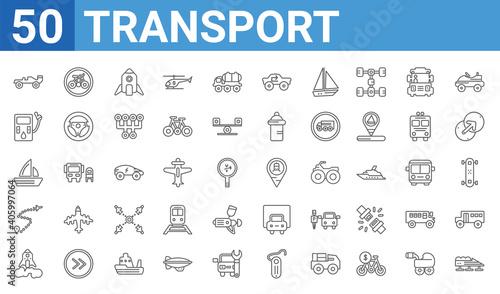 set of 50 transport web icons Fototapete