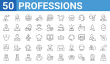 Set Of 50 Professions Web Icons. Outline Thin Line Icons Such As Nun,marketing Manager,surgeon,showman,nurse,financial Manager,secretary,captain. Vector Illustration
