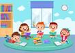 Leinwandbild Motiv kids discuss homework study together