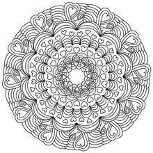 Symmetrical Mandala With Hearts And Curls, Anti Stress Coloring Page With Ornate Patterns For Valentine's Day