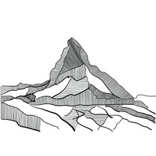 Black And White Silhouette Of The Famous Mountain Cervino, Part Of The Italian And Swiss Alps. Handmade Drawing Of The Main Summit At 4,478 Meters