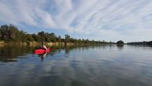 Woman Kayaking On Lake Natoma