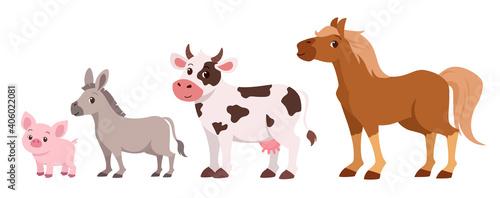 happy cattle farm set vector illustration