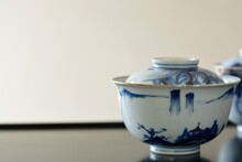 "Picture Rice Bowl. This Is A Very Fine Example Of Japanese Traditional Antique ""imari"" Ware. Blurred Background Soft Focus Image."