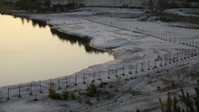 High Angle View Of Frozen Canal