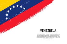 Grunge Styled Brush Stroke Background With Flag Of Venezuela