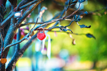 Castle In The Form Of A Red Heart On A Metal Tree On A Blurred Background For A Romantic Couple. Valentine's Day Concept