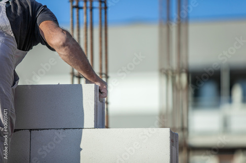 Process of house construction from the gas silicate block Poster Mural XXL
