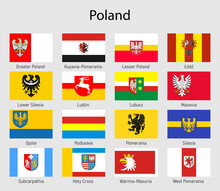Set Flags Of The Voivodships Of Poland, All Polish Regions Flag