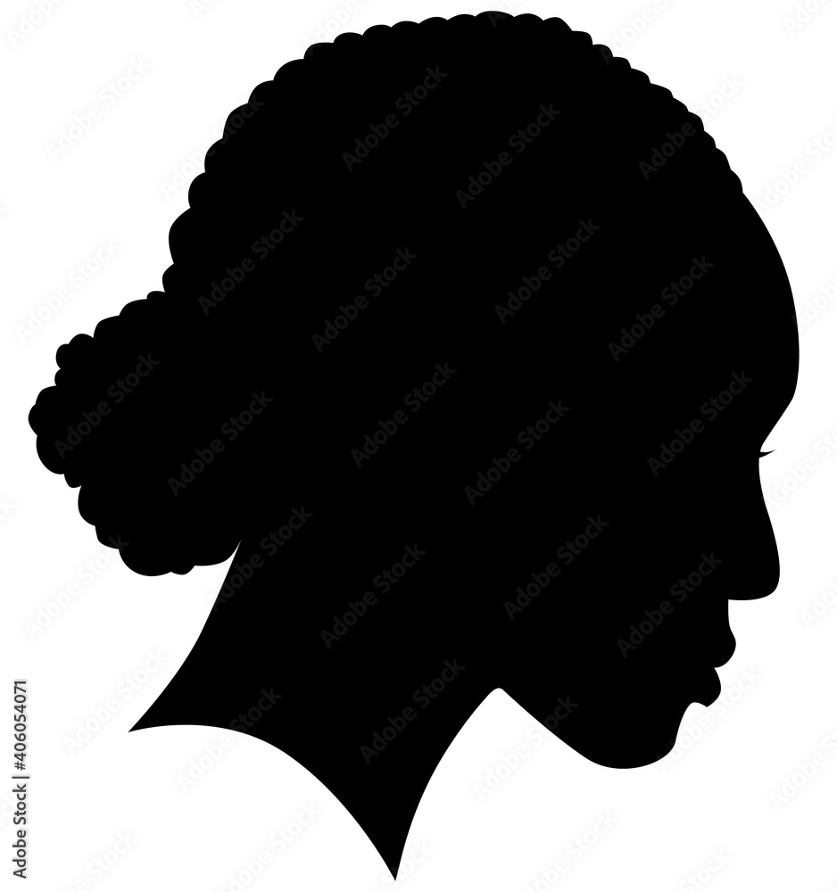 Fototapeta African American female, African profile picture, silhouette. girl from the side with long hair tied together, Afro American hair Isolated realistic silhouette