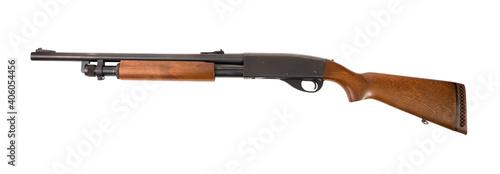 Fotografia Modern hunting pump action shotgun isolated on white background