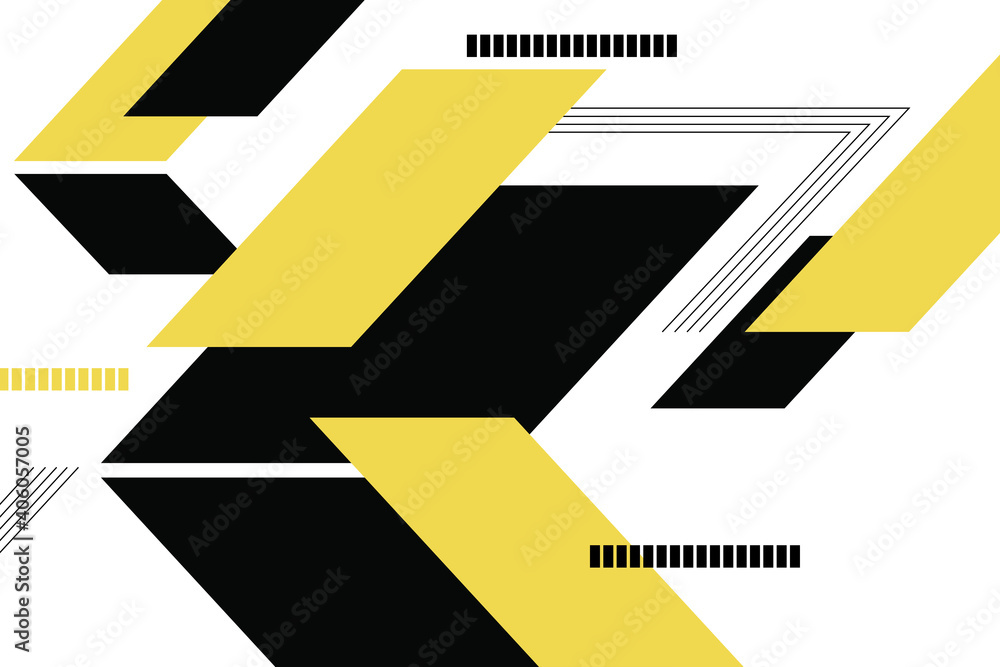 Fototapeta Abstract background pattern made with geometric shapes (parallelograms) and lines in technology concept. Modern, simple and bold vector art in yellow and black colors.