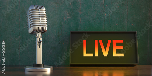 Retro microphone on table, illuminate live sign background. 3d illustration