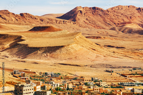 Leinwand Poster High angle view of canyon and ancient berber village of Tinghir in sahara desert