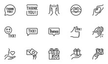Set Of Thanks Vector Line Icons. Thank You, Thankfulness, Gratitude, Appreciation. Thx Speech Bubble. Editable Stroke. 48x48 Pixel Perfect.