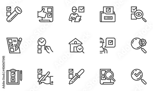Set of Vector Line Icons Related to Expertise. Inspection, Examination, Analysis, Testing. Editable Stroke. 48x48 Pixel Perfect.