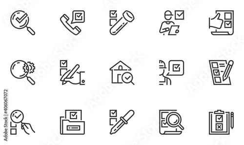 Fotografía Set of Vector Line Icons Related to Expertise