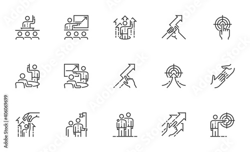 Fotografía Set of Vector Line Icons Related to Coaching