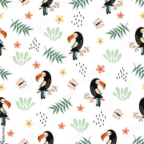 Fototapeta premium seamless pattern with toucan, cute animal background