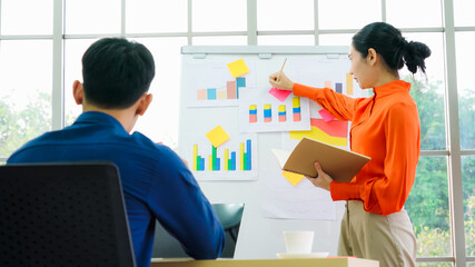 Fototapeta Boks Young woman explains business data on white board in casual office room . The confident Asian businesswoman reports information progress of a business project to partner to determine market strategy .