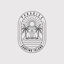 Paradise Line Art Logo Vector Illustration Design. Surfing Island Emblem Symbol. Palm Tree Line Art Icon