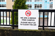 No Smoking At College Campus University School Sign For Students Create Smoke Free Environment Air