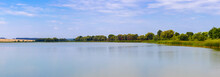 Spacious Lake And A Narrow Strip Of Land Between The Water And The Sky, Panorama