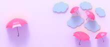 Creative Idea Inspiration. Umbrella Red And Blue Clouds On Purple Background For Leadership Concept - 3d Rendering