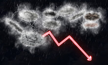 3D Rendering Of Currencies With Storm-like Illustration For The Economy With A Downward Red Arrow