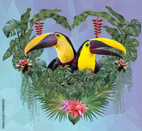 Fototapeta premium Polygonal Illustration Toucan bird and Amazon plants.