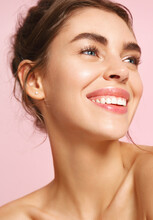 Romance And Beauty. Close Up Of Happy Young Woman With Nude Makeup And White Perfect Smile, Looking Away Dreamy About Valentines Day, Standing On Pink Background