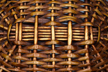 Rattan Wicker Texture With Handmade Traditional And Dry Branches, Wicker Brown Texture Background