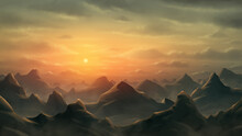 Background Of Rocky Mountains Stretching To The Horizon With A Sunset. Fantasy Landscape. Digital Painting Illustration