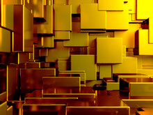 Luxury Golden Background. Gold Glossy Cubes Array