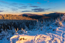The Highest Mountain In The Beskydy - Lysa Hora (Bald Mountain) In Winter During Sunrise Czech