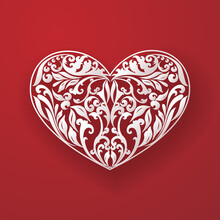 Floral Hearts Red Wallpaper