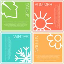 Four Nature Seasons Color Squares