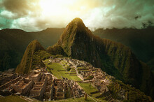 View Of Old Machu Picchu Archeology Site Against Mountain Range
