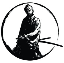 An Experienced Samurai In A Kimono With Two Swords Stands Proudly , Surrounded By A Black Circle. 2d Illustration.