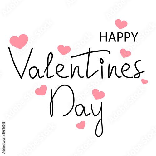 Obraz Happy valentine s day text with hearts on the postcard. Vector illustration - fototapety do salonu