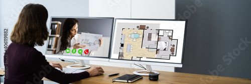 Obraz Interior Designer Or Decorator Online Video Conference - fototapety do salonu