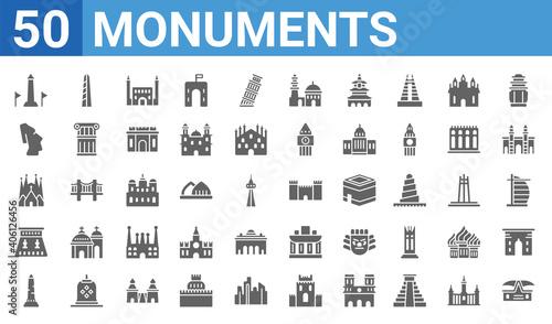 Fotografie, Obraz set of 50 monuments web icons