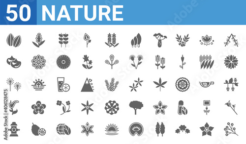 Photo set of 50 nature web icons