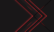 Abstract Red Light Line Neon Arrow Metallic Direction On Dark Grey With Blank Space Design Modern Futuristic Technology Background Vector Illustration.