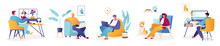 Set Of Vector Illustrations With Male Characters Working At Home, Remotely Or In Coworking Space, Office. Concept Of Freelancing Comfortable Work In Home. Working Conditions During Worldwide Pandemic.