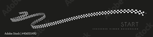 Fotografia Checkered racing flag, ribbon. Vector illustration on dark