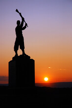 The Sun Sets On The Memorial To The 72nd Pennsylvania Infantry At Gettysburg National Battlefield