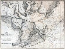 18th-century Vintage Map Of Charlestown During The American Revolution