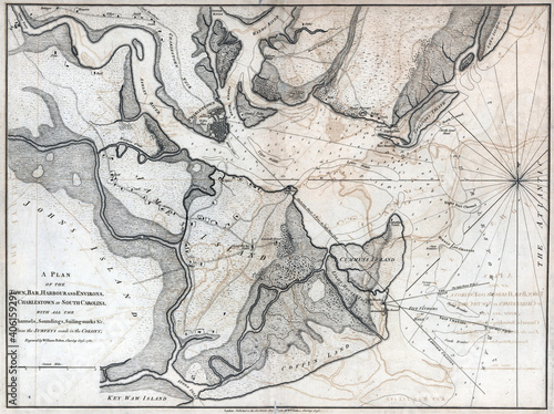 Fotografie, Tablou 18th-century vintage map of Charlestown during the American Revolution